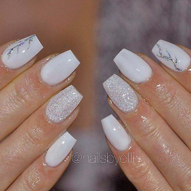 White Butterflies Acrylic Nails Coffin Short Short Acrylic Nails Designs Image Nails