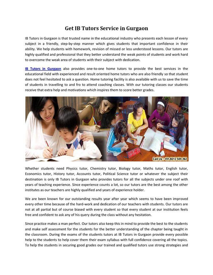 Get ib tutors service in gurgaon