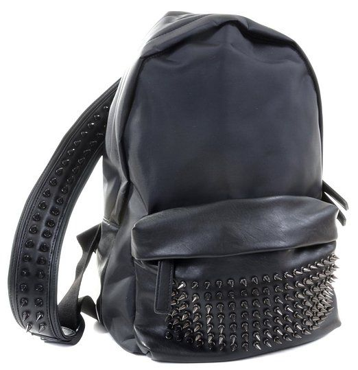 Faux Leather Fabric Spike Studded Backpack Black or Gray - GRY
