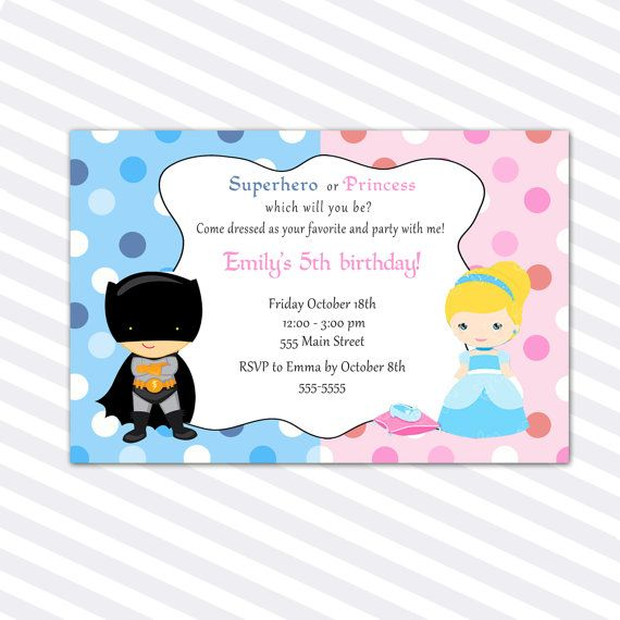 Princess Birthday Invitation Card Superhero Siblings Girl Boy
