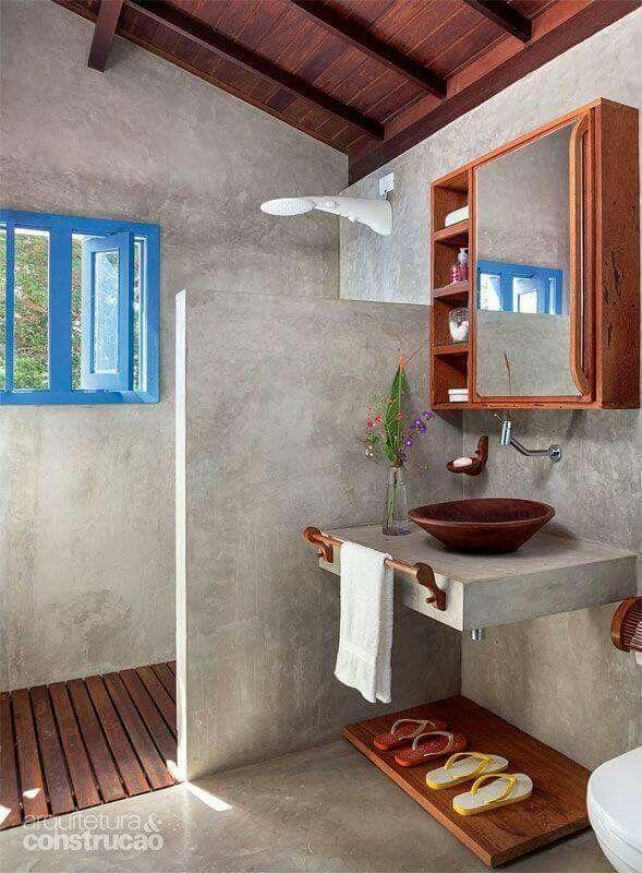 Ideas para baños rusticos.