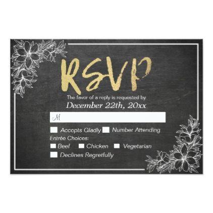 #Gold Script Chalkboard Floral Wedding RSVP Reply Card - #weddinginvitations #wedding #invitations #party #card #cards #invitation #elegant