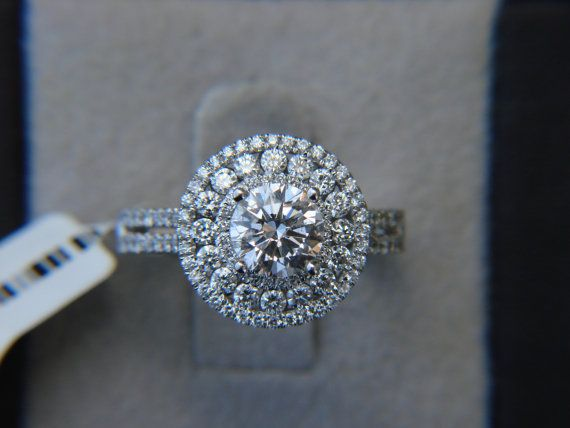 Zeeuws knopje?   18k White Gold .86 cttdw Vintage Double Halo Engagement Ring - We Sell Unique Rings