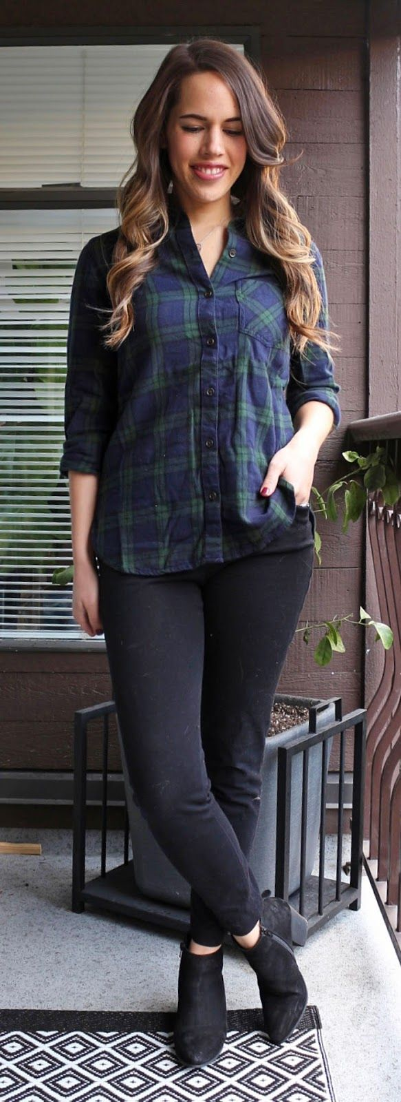 Jules in Flats - Old Navy Plaid and Pixie Pants, Steve Madden Jaydun Booties