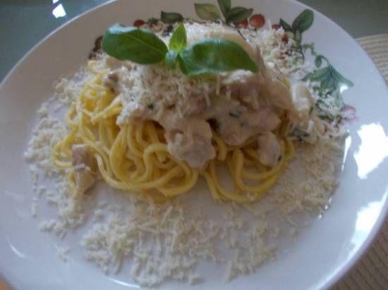 Romige Spaghetti met witte asperges en kalkoenreepjes