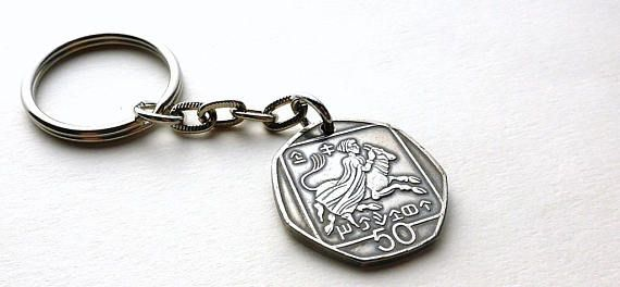 Coin keychain Cyprus Greek keychain Mens accessory Gift