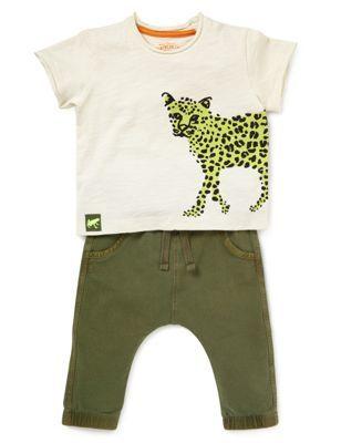2-delige outfit van puur katoen bestaande uit een T-shirt met luipaardprint en broek