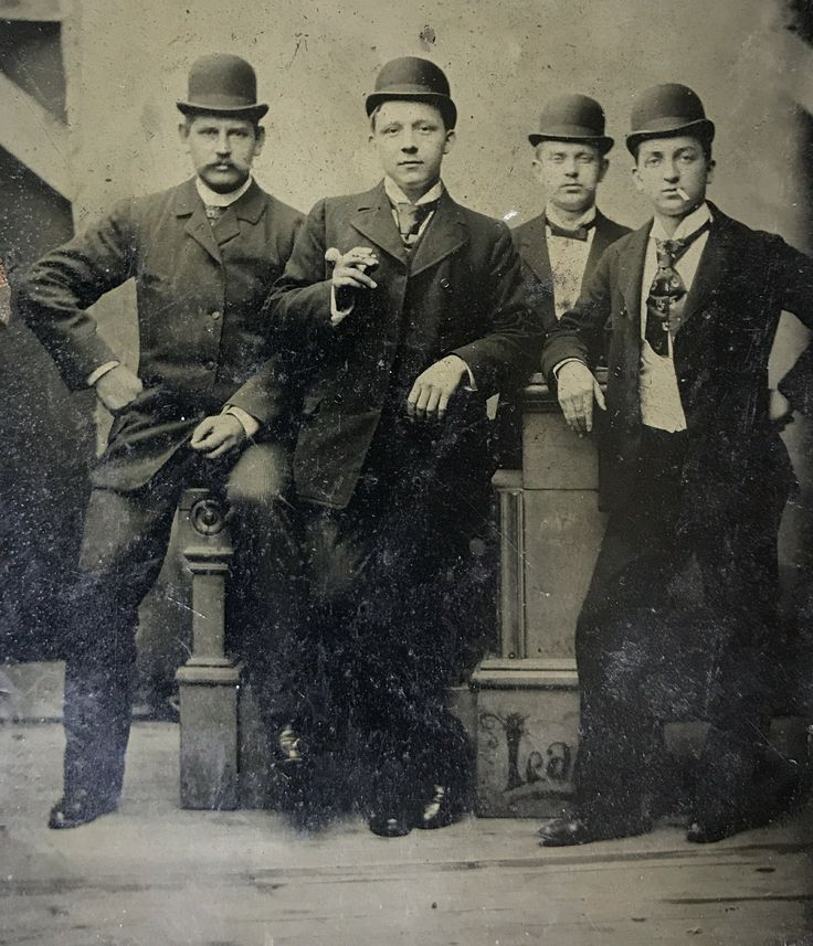 "Wyatt Earp, Warren Earp, Ed Masterson, Bat Masterson. Appearing here l to r on a sixth plate tintype. Warren is moving his hand, obviously ""flicking the ash"" from his cigarette. Original image from the collection of P.W. Butler."