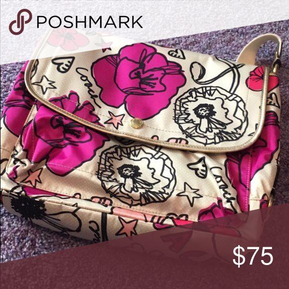 Coach Messenger Bag Floral print. Great condition. Coach Bags Laptop Bags