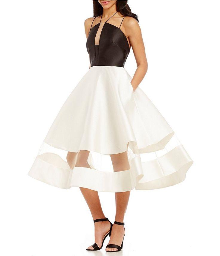 Kay Unger Halter Neck Color Blocked Midi Dress