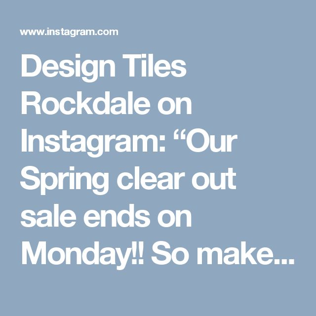 """Design Tiles Rockdale on Instagram: """"Our Spring clear out sale ends on Monday!! So make sure you get in quick to score yourself a bargain! Our last tile to go sale is the 'Link' series available in 30x60 and 60x60 sizes in a matt finish. You can get it for only $29m2, but only until close of business Monday or while stocks last! If you would like to order it or get more info please give us a ring or send an email to emily@designtiles.com.au #designtilesrockdale #concretetile #greytile #decor…"""
