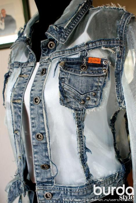This is one of the things I want to do with a denim vest. Keep the seams and pockets and replace the rest with some other material. Maybe not the sheer white like this...but same idea. And probably put studs or spikes somewhere like the pockets or shoulders, because everything looks better with studs and spikes