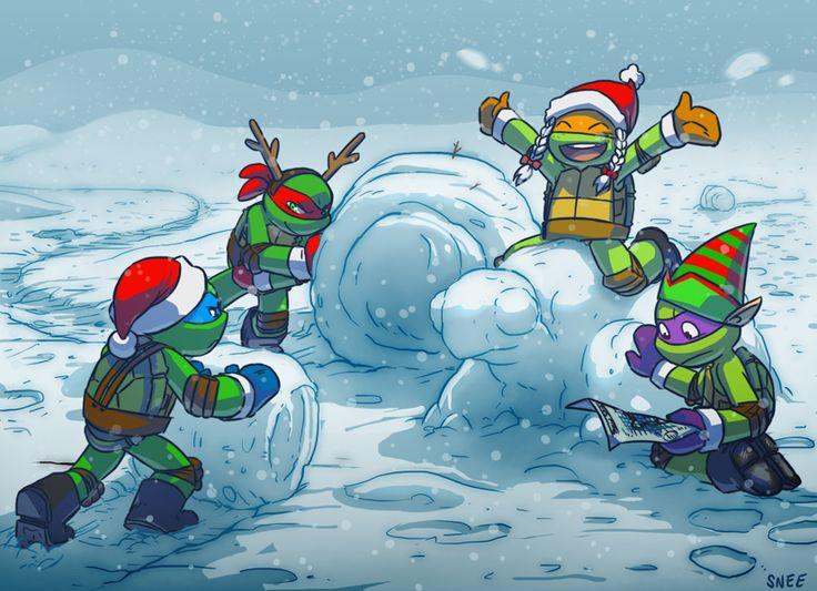 Ninja Turtle Snowmen!! Happy Holidays!!