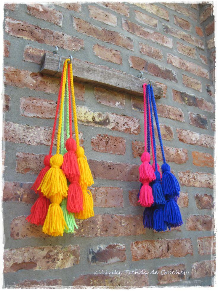 Borlas dobles para colgar de sillas, tiradores, picaportes, agarrar cortinas, Quedan más lindas si las combinas con dos colores!