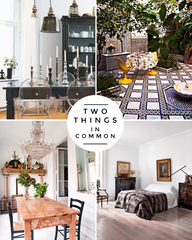 how to mix styles in your space. Tip #2: have at least two of the same style in common in the space.