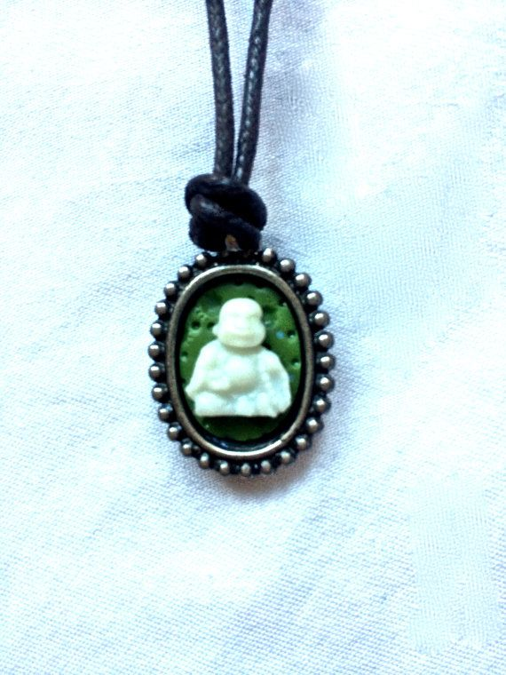 white Buddha cameo on olive green background. by FairyJaneDesign, $12.00
