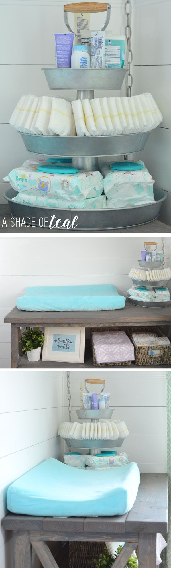 Mesa rústica para mudar bebés <3  Rustic Glam Nursery {One Room Challenge}, The Reveal | A Shade Of Teal