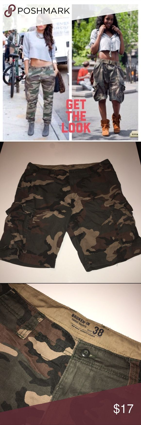 Old Navy Camouflage Shorts Love these for a relaxed look with sandals or a crop top and heels. Any questions please feel free. I also have the top if you're interested. Old Navy Shorts Cargo