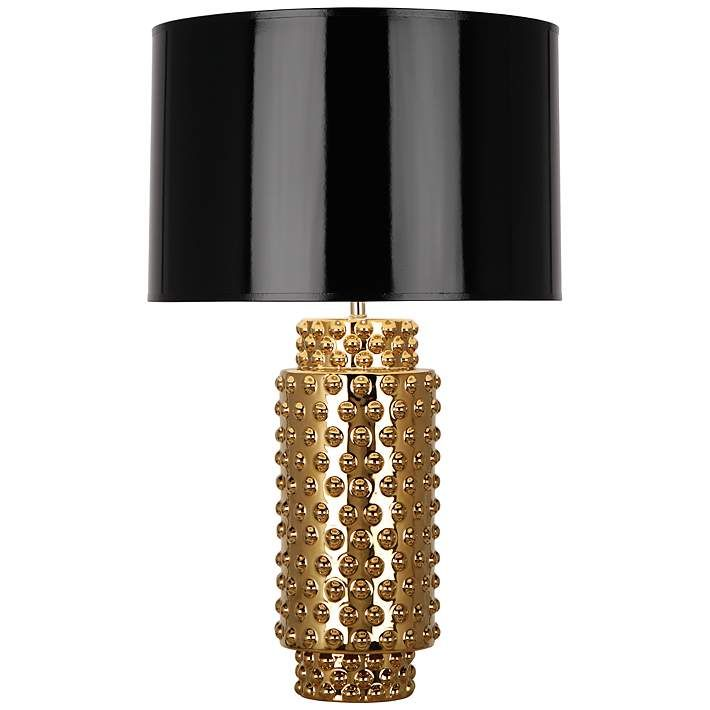 Robert Abbey Large Dolly Black Shade Gold Glaze Table Lamp 6p845 Lamps Plus Gold Table Lamp Black Table Lamps Table Lamp