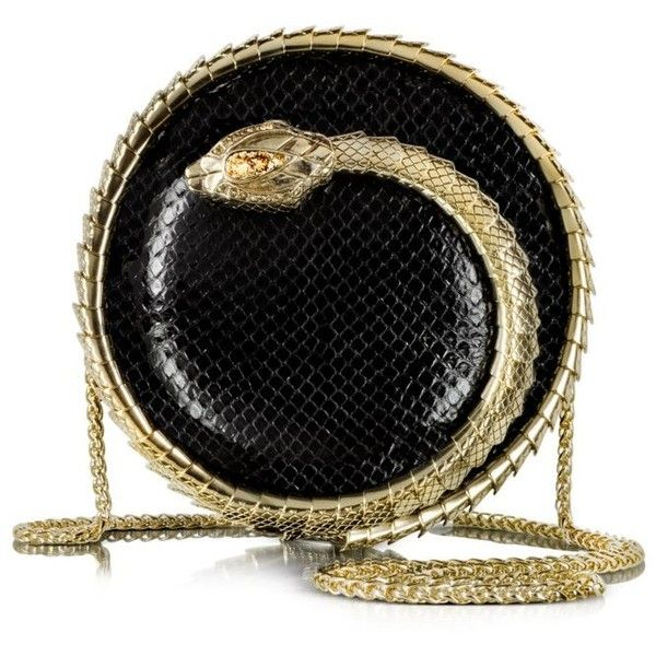 Roberto Cavalli Serpent Black Python Snake Sphere Clutch (174,265 INR) ❤ liked on Polyvore featuring bags, handbags, clutches, purses, black handbags, snake skin handbags, snakeskin handbags, snake skin purse and black evening purse
