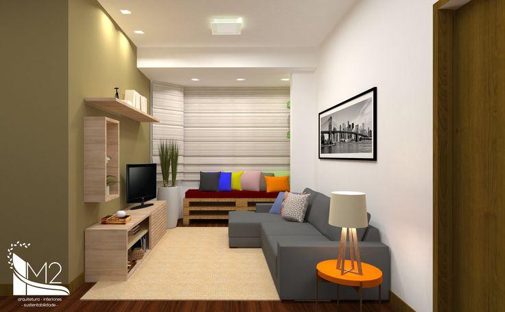 3D de uma sala de estar e jantar e a sala pronta ficou igual ao projeto! Móveis em MDF carvalho natural, sofá e aparador de pallets e mesa de jantar!Lindo demais!