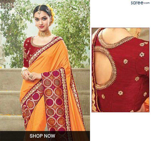 Orange Silk Saree with Embroidery Work - 5