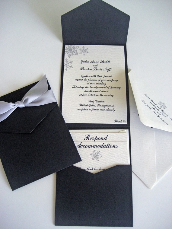 pocket wedding invitations pocket wedding invitation set snowflakes by 6699