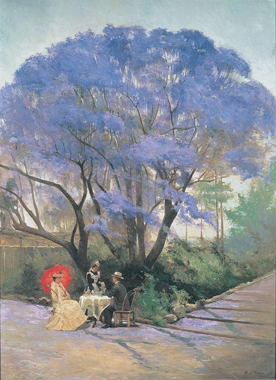 R Godfrey Rivers, England/Australia 1858–1925 / Under the jacaranda 1903 / Oil on canvas / Purchased 1903 / Collection: Queensland Art Gallery