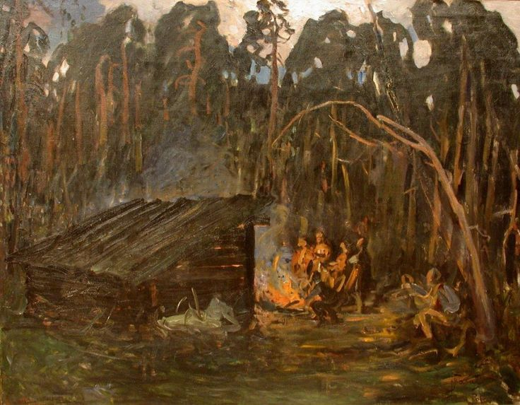 Julian Fałat: P polowaniu - Polesie olej, płótno, 105 × 135 cm sygn. p. d.: J.Fałat/Polesie