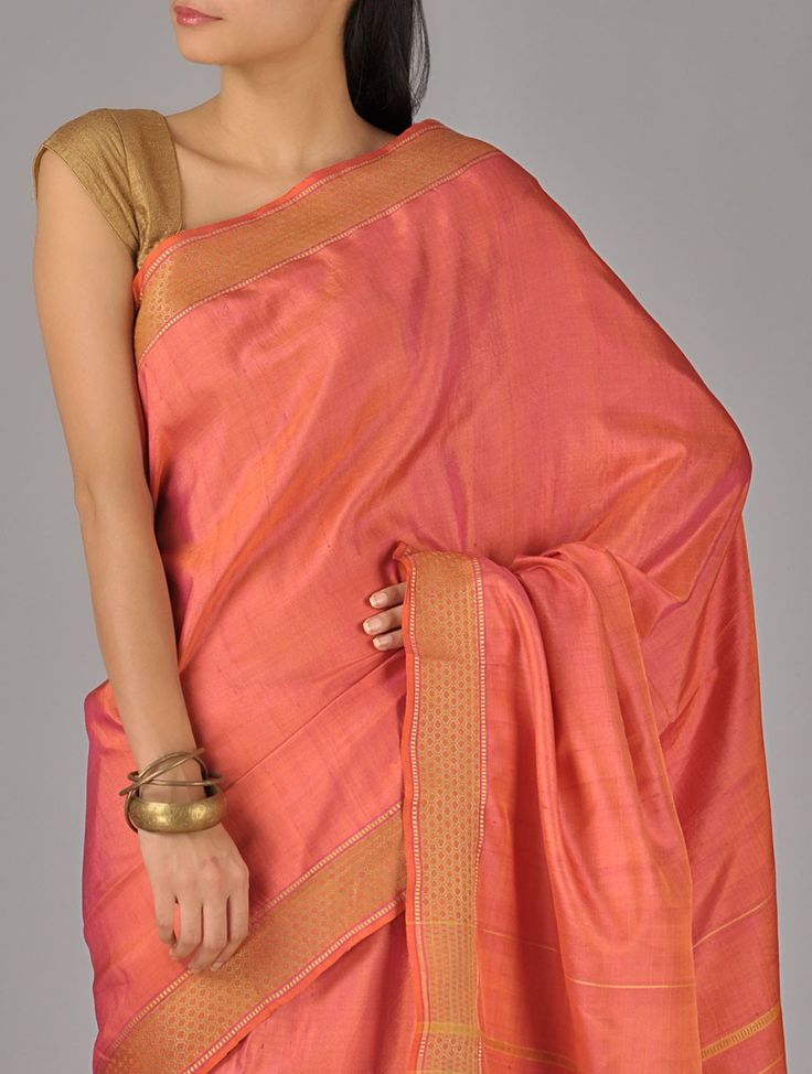Pink Tussar Honeycomb Border Khadi Silk Saree