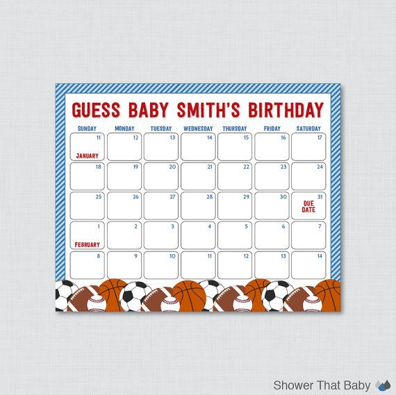 Sports Themed Baby Shower Birthday Predictions Printable - Blue Baby Shower Due Date Calendar Poster Boy Birthday Guess - Printable - 0015-B