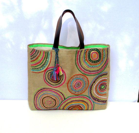Funky Geometric Embroidered tribal motives on jute tote bag, handmade, unique, boho, artistic, resort, summer, beach  bag