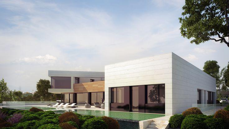 Espectacular  villa de dos plantas y fachada ventilada de piedra natural.