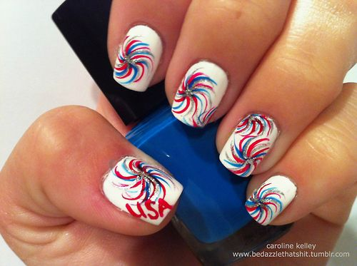Best 25 firework nails ideas on pinterest new years nail and the rockets red glare classic white makes for a great backdrop for bursting firework nail art were loving these pinwheel like wisps from bedazzle prinsesfo Gallery