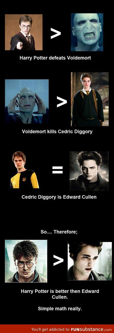 Whaaaaattttttt?????? Edward Cullen is waaaaayyyyy hotter than harry potter!!!! :o ^^^^ I do not except this comment. Harry potter is better your argument is invalid. It is false
