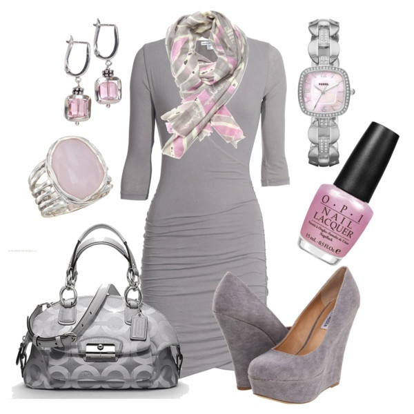 : Date Night, Colors Combos, Coach Pur, Date Outfits, Pale Pink, Pink Grey, The Dresses, Pink And Gray, Grey Dresses
