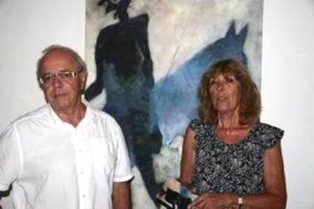Le galeriste de Polysémie François Vertadier avec la responsable de l'atelier Anne-Marie Coulomb