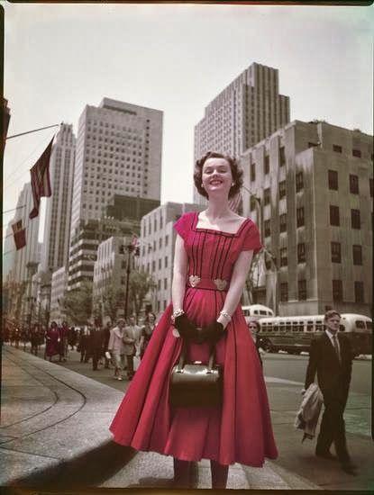 Women Modeling on the Sidewalk on Fifth Avenue in 1952