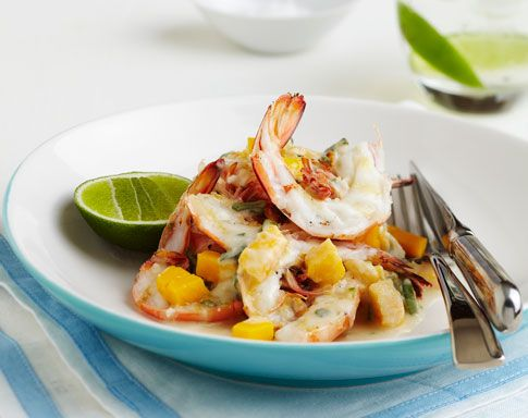 The taste of summer! Grilled King Prawns with Mango, Young Coconut & Lime - recipe by Pete Evans. http://www.mangoes.net.au/enjoy/entertaining.aspx
