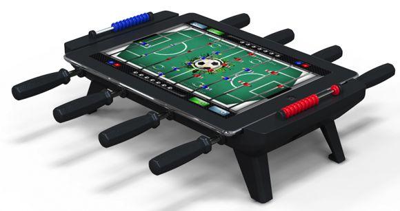 iPad Calcio Balilla. Classic Match Foosball è un tavolo da biliardino per l'iPad: avviate l'applicazione del calcio balilla e la sfida con i vostri amici inizia. Il Classic Match Foosball permette anche di ricaricare l'iPad. Via likecool.com