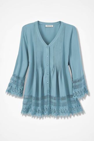 Gracious Lace Blouse, Robins Egg blue pretty color and style