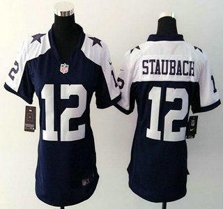 Women's Dallas Cowboys Jersey 12 Roger Staubach Nike Navy Blue Thanksgiving Game Jerseys