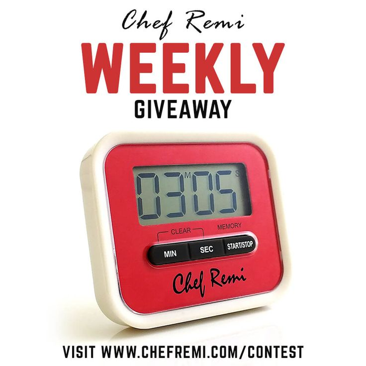 Enter Our Weekly Giveaway To Win Our New Chef Remi Kitchen Timer. (7 Winners a Day!)  Enter Here --> http://chefremi.com/contest