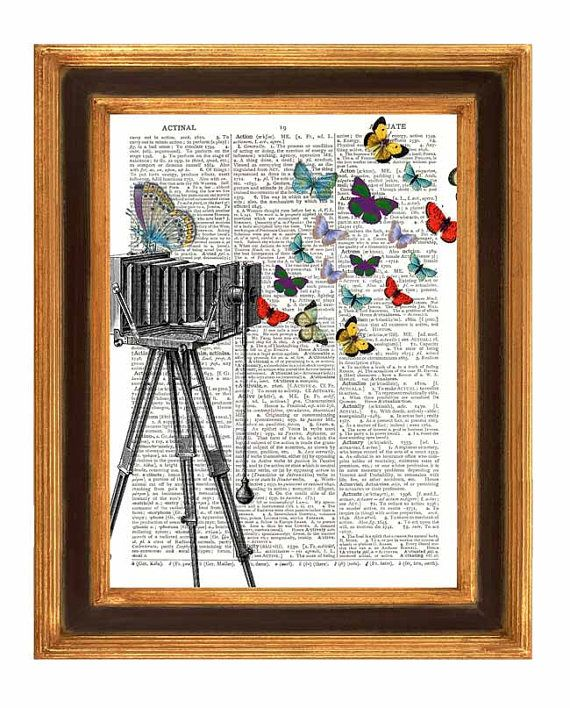 old book page vintage camera butterflies print on dictionary paper page book art print home - Prints On Old Book Pages