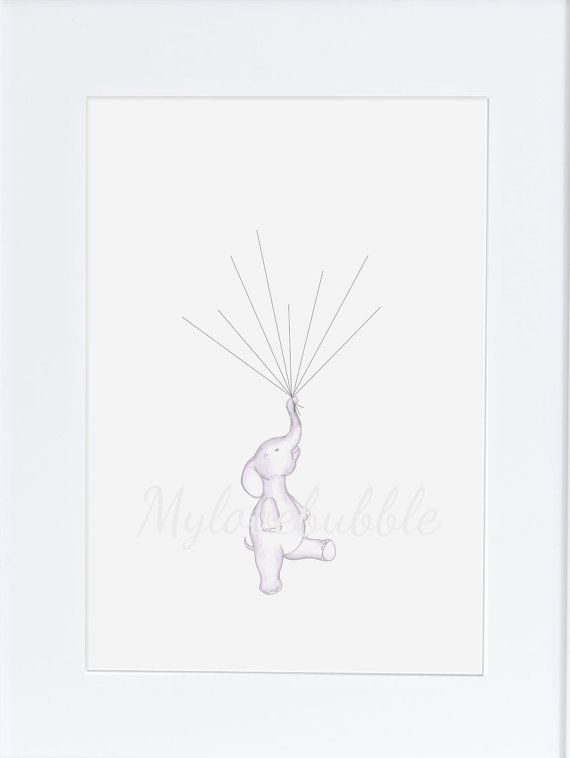 Baby Shower Keepsake art elephant holding by mylovebubble on Etsy