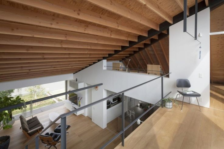 Wonderful House with Hipped Glass Roof in Japan: Openness Upper Floor ~ interhomedesigns.com Architecture Inspiration
