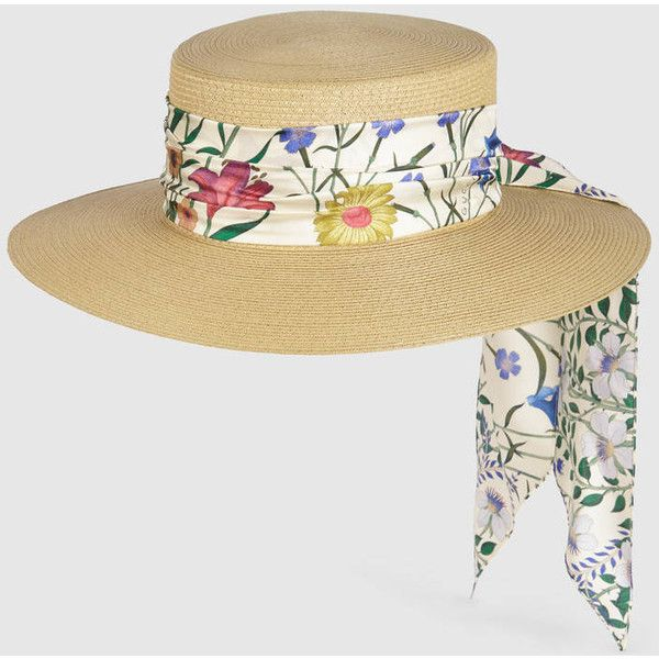 Gucci Papier Hat With New Flora Ribbon ($305) ❤ liked on Polyvore featuring accessories, hats, gucci hat, gucci, beige hat, satin lined hats and ribbon hat