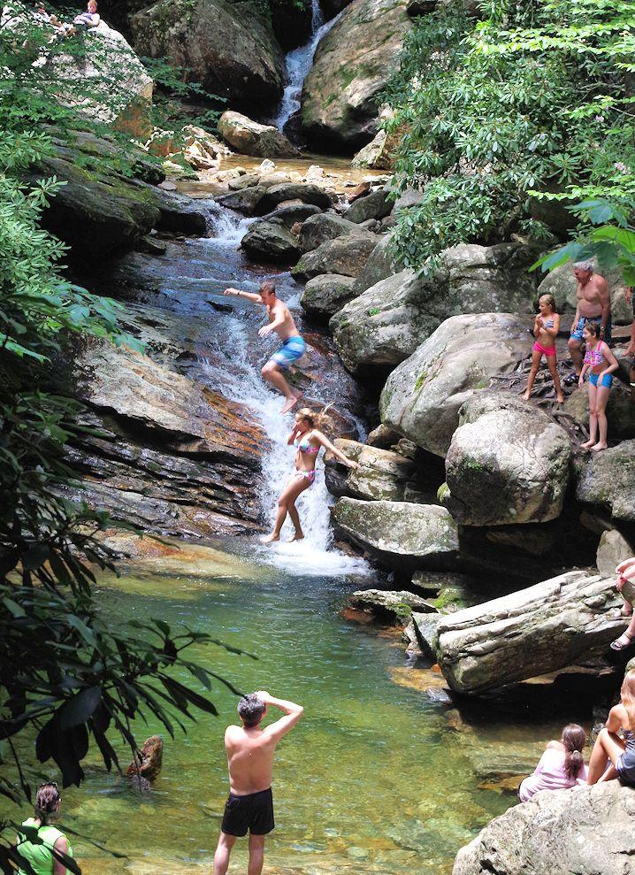 Skinny Dip Falls along the Blue Ridge Parkway near Asheville - swimming hole in the North Carolina Mountain