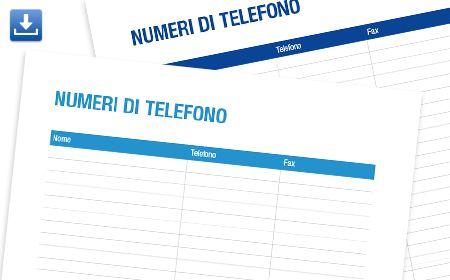 Template stampabili per casa/l'ufficio ,numeri telefonici - Epson