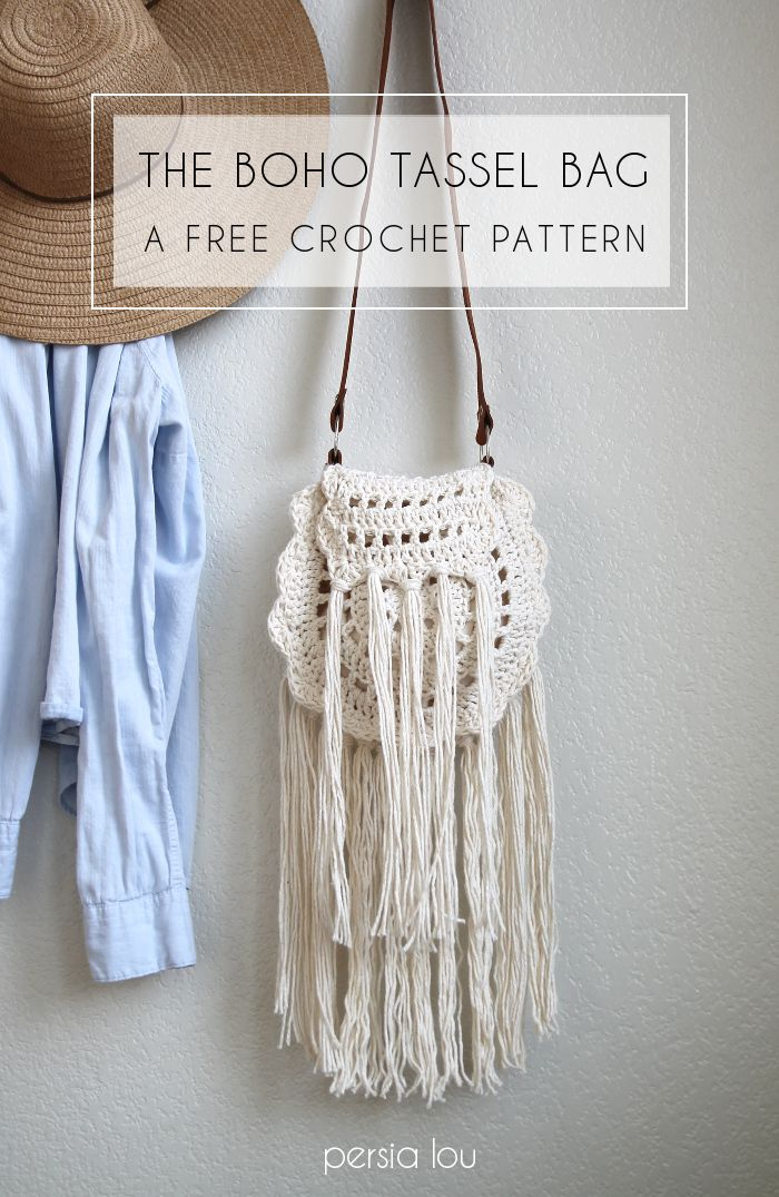 Cute crocheted bag - love all the tassels. Free pattern from Persia Lou. ༺✿ƬⱤღ  http://www.pinterest.com/teretegui/✿༻